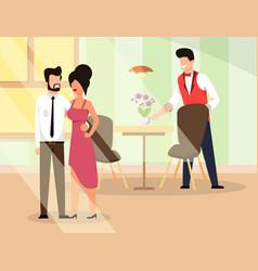 Couple in love go restaurant flat vector