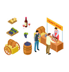 craft wine tasting winemaking isometric concept vector image