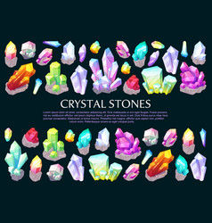 Crystal stones precious gems and jewelry minerals vector
