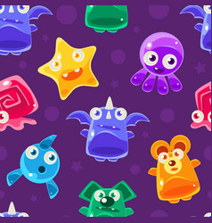 cute funny jelly monsters cartoon characters vector image