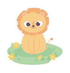 Cute little lion cartoon animal adorable vector