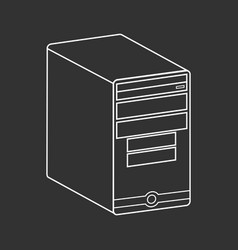 Desktop computer outlined vector