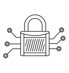 digital padlock icon outline style vector image
