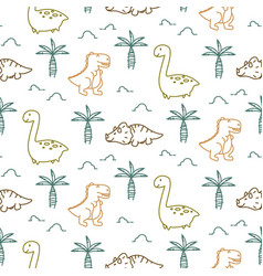 Dinosaurs line style seamless pattern vector