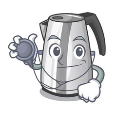 Doctor electric stainless steel kettle on vector