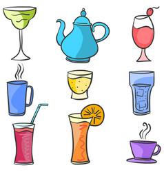 Drink set various doodle art vector