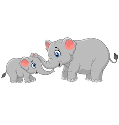 Elephant mother and calf walking while bonding rel vector
