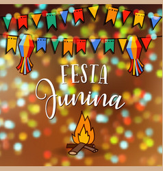 festa junina brazilian june party greeting card vector image