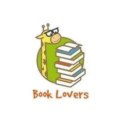 Funny giraffe logotype Book store logo vector