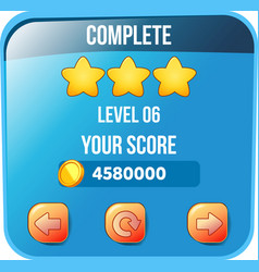 Game ui level complete menu pop up with stars vector