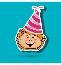 Girl cartoon hat party vector