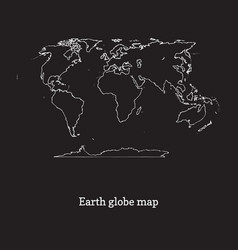 graphic earth globe map on black vector image