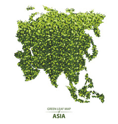 Green leaf map of asia of a forest vector