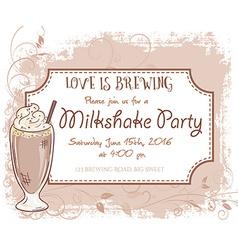 hand drawn milkshake party invitation card vintage vector image