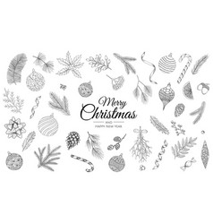 Hand drawn set christmas decorations template vector