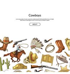 hand drawn wild west cowboy elements vector image