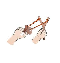 Hands and slingshot vector