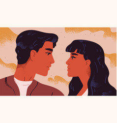 Happy adorable couple in love portrait of young vector
