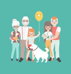 happy family with newborn baby vector image