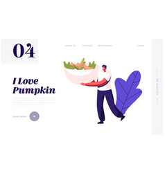 Healthy food website landing page tiny male vector