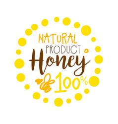 honey natural product 100 percent logo colorful vector image