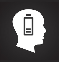 Human head battery low icon on black background vector