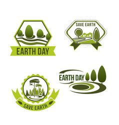 icons set for earth day or ecology company vector image
