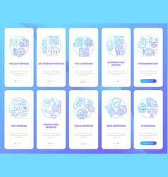 Intermittent fasting blue onboarding mobile app vector