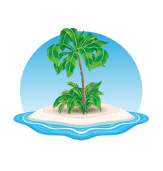 Island icon with palm trees vector