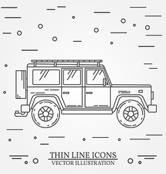 Jeep thin line travel grey and white vector
