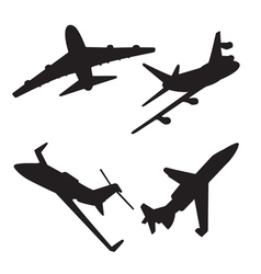 Jet aircraft silhouettes vector