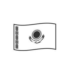 kazakhstan flag icon in black outline flat design vector image