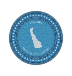Label with map of delaware Denim style vector
