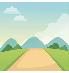 Landscape road mountains sky nature vector