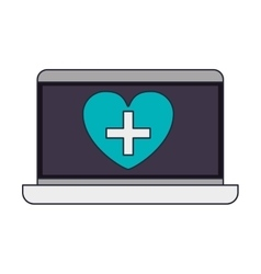 laptop with heart on display vector image