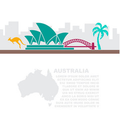 Leaflet with a map and symbols australia vector