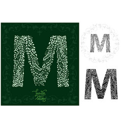 Leaves alphabet letter m vector