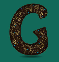 letter g with golden floral decor vector image