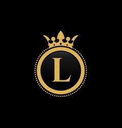 Letter l royal crown luxury logo design vector