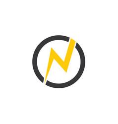 letter n thunder circle geometric logo vector image