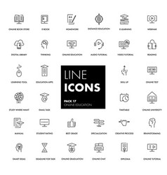 Line icons set online education vector