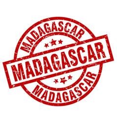 madagascar red round grunge stamp vector image
