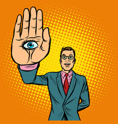 man eye palm spiritism occult vector image