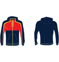 mens hood zipper mock up vector image