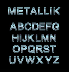 Metallic alphabet set vector
