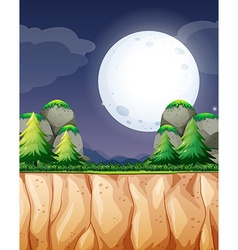 Nature scene with fullmoon and cliff vector