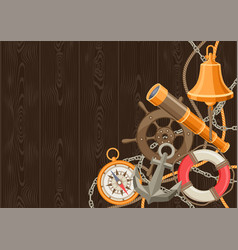 nautical background with sailing items ropes and vector image