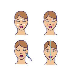 Neurotoxin injection color icons set vector