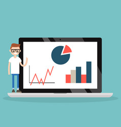 Online education young nerd presenting vector