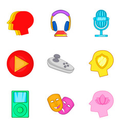 Online play icons set cartoon style vector